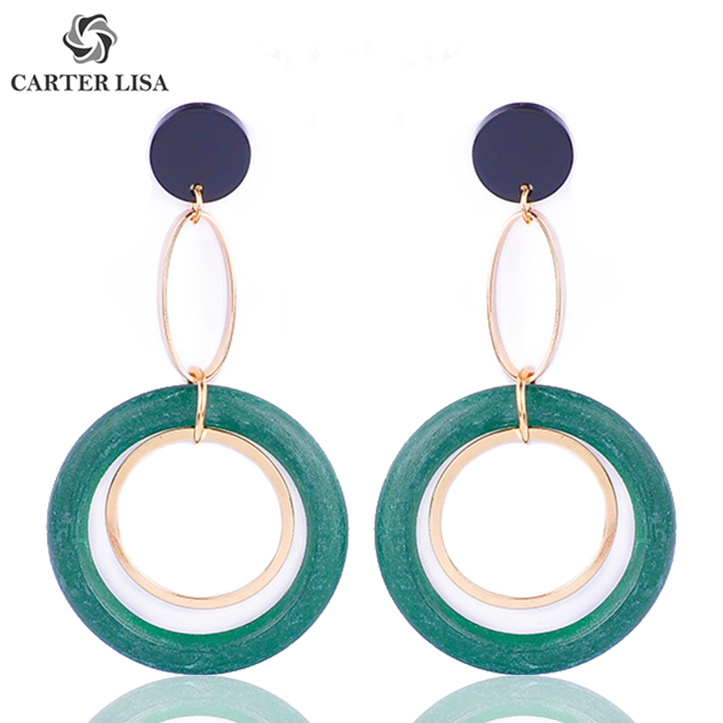 CARTER LISA Trend Round Green Red Circle Statement Drop Earrings For Women Girl Fashion Modern Piercing Jewelry Party Gifts