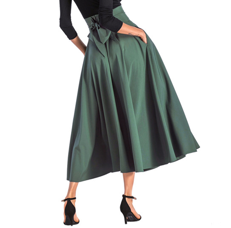 2020 New Fashion  Women Long Skirt Casual Spring  Summer Skirt womens Elegant Solid Bow-knot A-line Maxi Skirt Women Cothes (21)