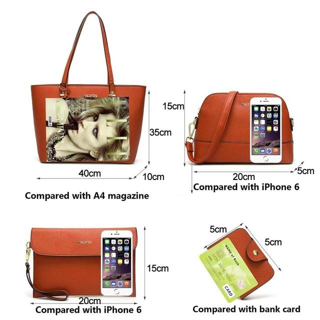4Pcs Travel Pu Leather white Handbags Hasp  Solid Color Shoulder Messenger Bag Wallet Pouch Bags For women 2020  5