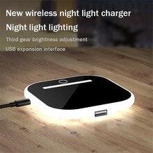 다기능 데스크탑 스탠드 무선 충전기 10W 아이폰 화웨이에 대 한 밤 빛 세로 휴대용 충전기와 빠른 충전