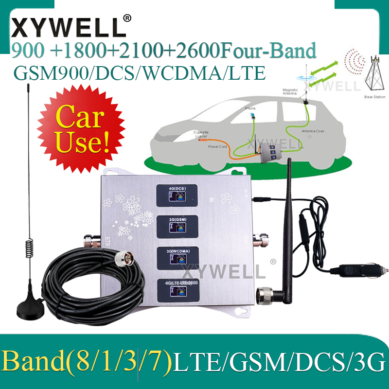 Car Use!! 900/1800/2100/2600mhz Four-Band Cellular Amplifier GSM Repeater 2g 3g 4g Mobile Signal Booster GSM DCS WCDMA LTE