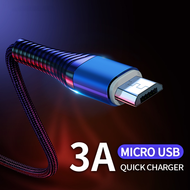 Micro USB Cable 3A Fast Charging Data Sync Cord microusb Andriod USB Cable USB Wire Mobile Phone Cable For Huawei Xiaomi Samsung