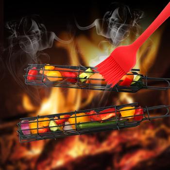 Przenośny Grill kosz na Camping ze stali nierdzewnej łatwe-rzut Nonstick szaszłyki z grilla kuchnia artykuły kempingowe tanie i dobre opinie HAIMAITONG CN (pochodzenie) Zestawy narzędzi Odporność na ciepło Metal Other Barbecue Smoker Box Barbecue Grill Narzędzia
