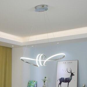Image 2 - Lustre Led suspendu au design moderne, avec placage or chromé, luminaire décoratif dintérieur, idéal pour une salle à manger, une cuisine, un salon