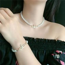 Retro planeta pérola curto colar feminino jóias de casamento ins estilo corrente gargantilha de luxo para mulheres meninas presente de aniversário