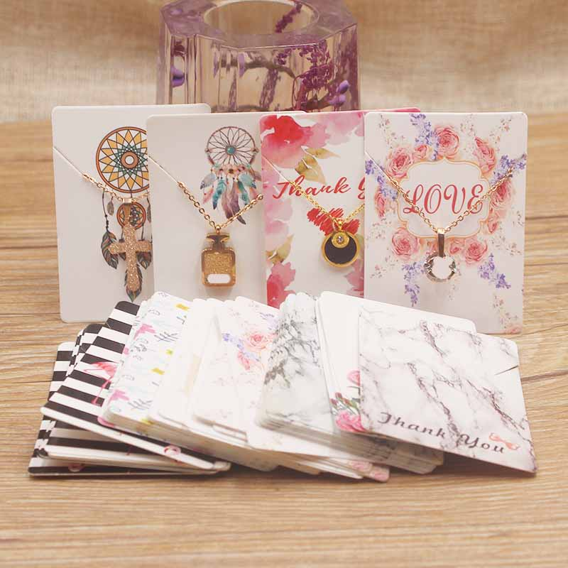 25 Designs White/kraft Paper Necklace Pendant Package Card DIY Handmade Flower/marble/sweet Love Jewelry Charms Diaplay Tag Card