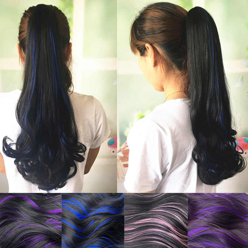 LANLAN Wig ponytail big wave curly ponytail female pear flower roll grip type highlights color roll ponytail claw clip