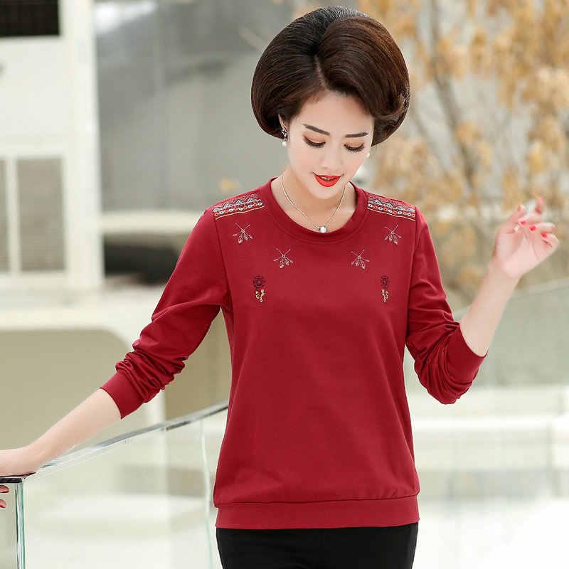 Vrouwen Casual Blouses Herfst Lovertjes Borduurwerk Katoen Comfort Tops Ronde Kraag Rood Groen Blauw Geel Basic Shirt Voor Vrouw