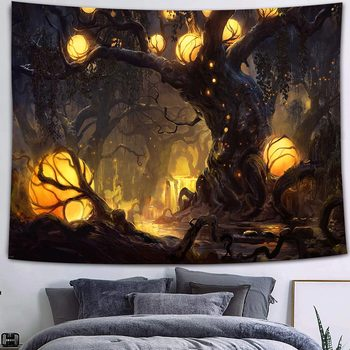 Simsant Mushroom Forest Castle Tapestry Fairytale Trippy Colorful Butterfly Wall Hanging Tapestry for Home Dorm Fantasy Decor 20