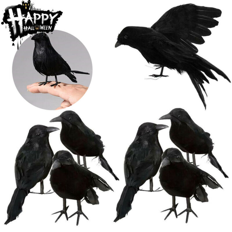 Halloween Black Crow Props Realistic Raven Spooky Feathered Crows House Decor Figurines & Miniatures
