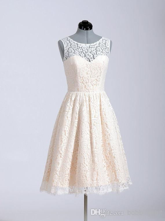 Lace Sleeveless 2018 A Line Knee Length Custom Made In Stock Party Cheap Short Prom See Through Back Button Bridesmaid Dresses