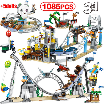 1085Pcs Creators Builerds Set Pirate Roller Coaster 3 In 1 Compatible Lepining City Creator 31084 Building Educational Toy Gifts