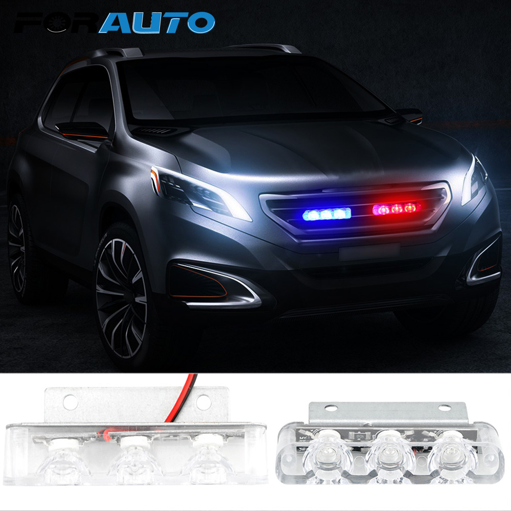 FORAUTO 2Pcs 3 LED Strobe Light Car Truck Motorcycle Police Flashing LED Brake Stop Lights Emergency Warning Rear Tail Lamps