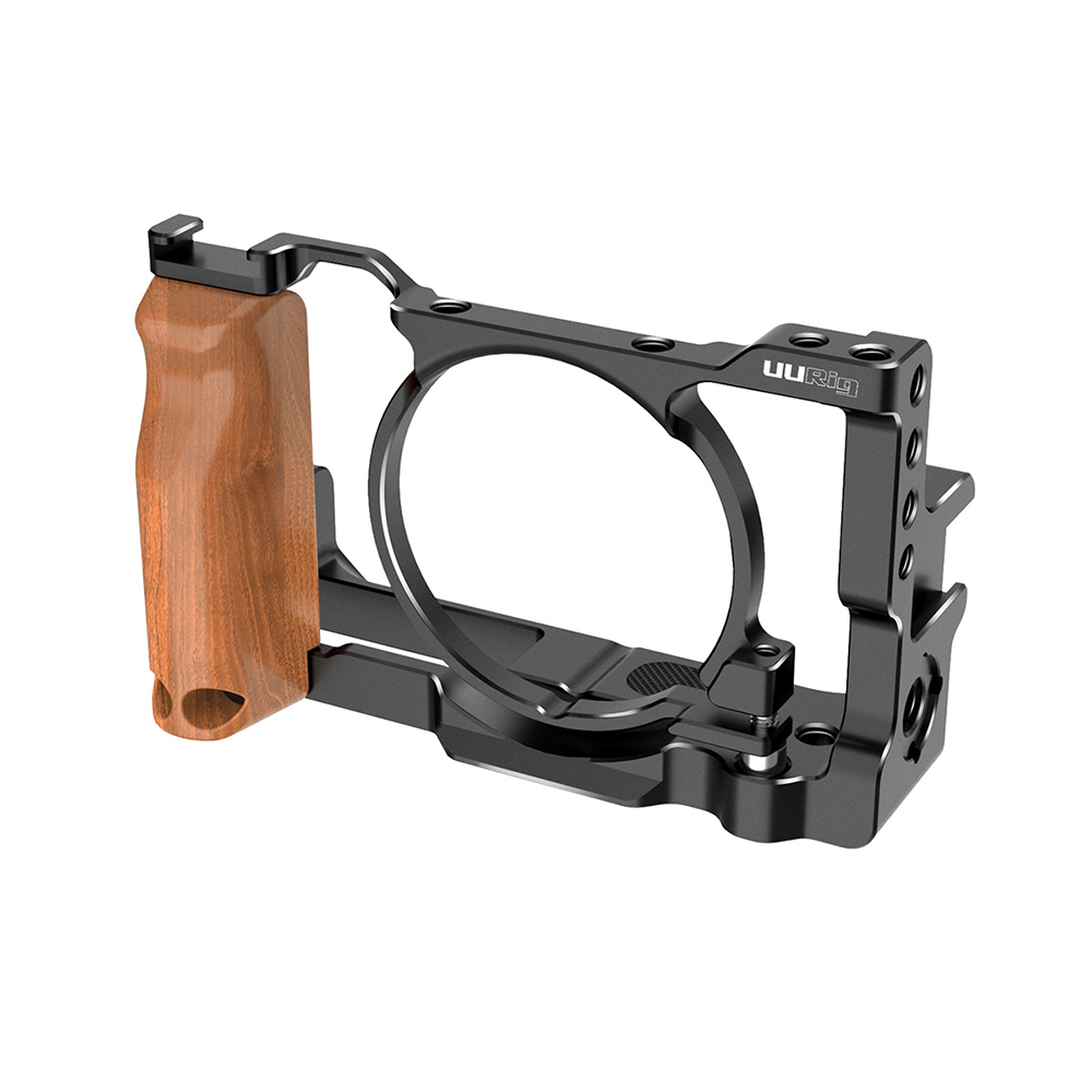 UURig C-RX100 VII Vlog Cage Protective Frame Case Stabilizer Rig With Wood Hand Grip For Sony RX100 VI/VII M6/M7 Camera Cage Rig