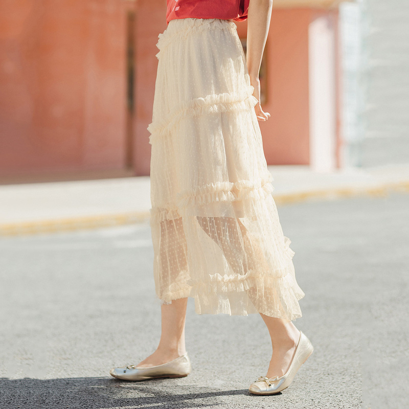 INMAN 2020 Summer New Arrival Literary Temperament Fairy Style Grenadine Fold A-line Skirt