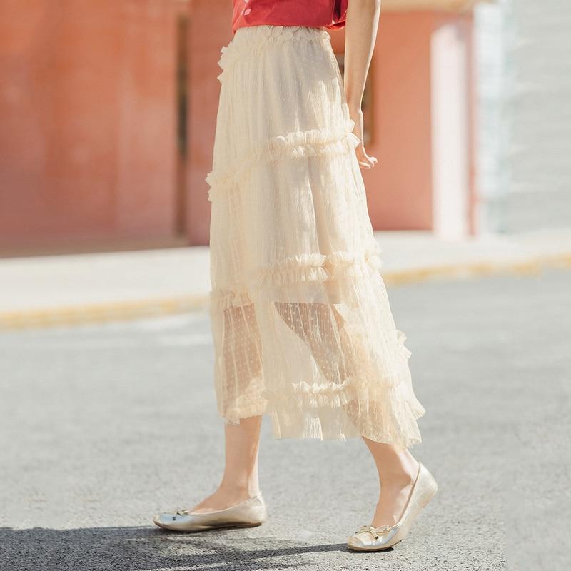 INMAN 2020 Summer New Arrival Literary Temperament Fairy Style Grenadine Fold A-line Skirt