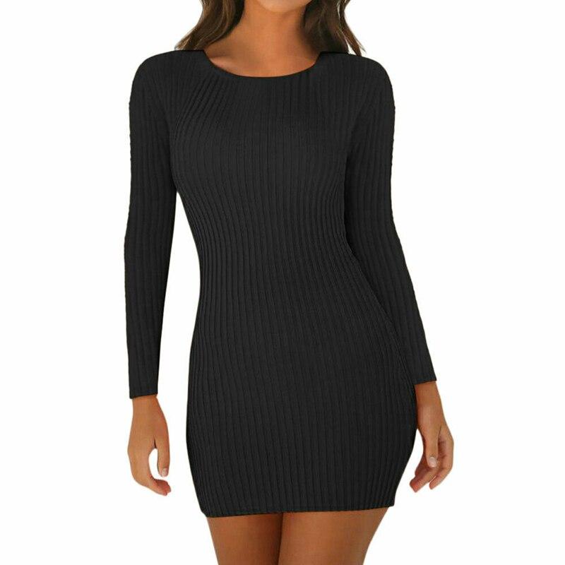 2020 Women's Ladies Dresses Sexy Summer Long Sleeve Tank Slim Mini Short Knitted Bodycon SunDress Orange Black Red