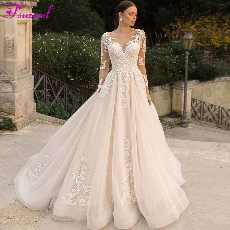 Fsuzwel Romantic Scoop Neck Long Sleeve A-Line Wedding Dresses 2020 Luxury Beaded Appliques Court Train Princess Wedding Gowns