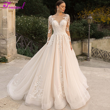 Fsuzwel Romantic Scoop Neck Long Sleeve A Line Wedding Dresses 2020 Luxury Beaded Appliques Court Train Princess Wedding Gowns