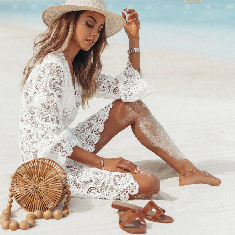 2019 Autumn Lace Crochet Women Beach Dress Bikini Cover Up Swimwear Floral White Black Bathing Suit Tunic Beach Dress