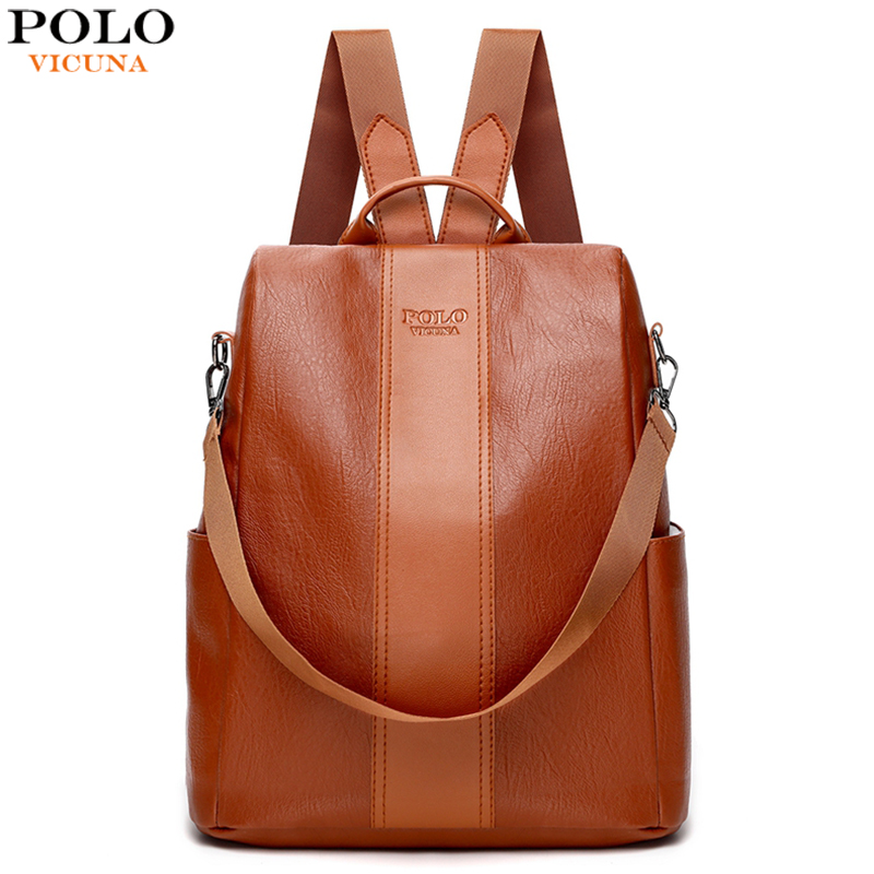 VICUNA POLO Simple Patchwork Trendy Leather Backpack For Women Fashion Ladies Rucksack Bag Mochila Feminina Dropshipping