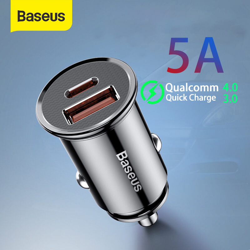 Baseus 30W Car Quick Charger 4.0 3.0 USB Charge For Iphone X XS Max SCP USB Type C PD 3.0 Fast Charging Car Phone Charger
