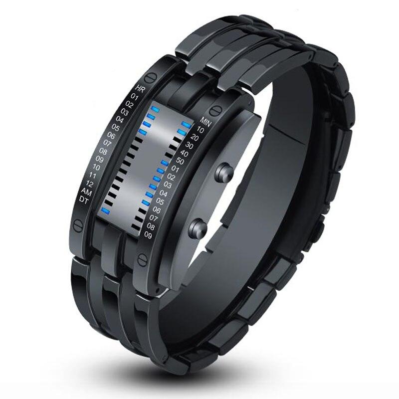 Digital Watches Stainless-Steel Bracelet Electronic Men Relogio Black Masculino Led Sport