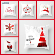 Merry Christmas Cotton Linen Pillow Xmas Cushion Cover Santa Claus Pattern  Pillowcase Tree Snow Home Decorative 45cm 18inch
