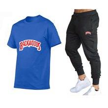 2021 novo verão moda casual masculina marca esportiva terno fitness masculino mangas curtas camiseta com decote em O de 2 peças