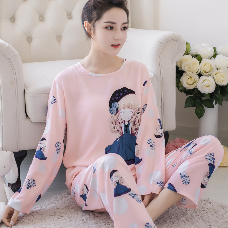 Pajamas Women's Spring And Autumn Long Sleeve Korean-style Fresh Students Sweet Cute Pajamas Suit-Outer Wear Tracksuit Women's