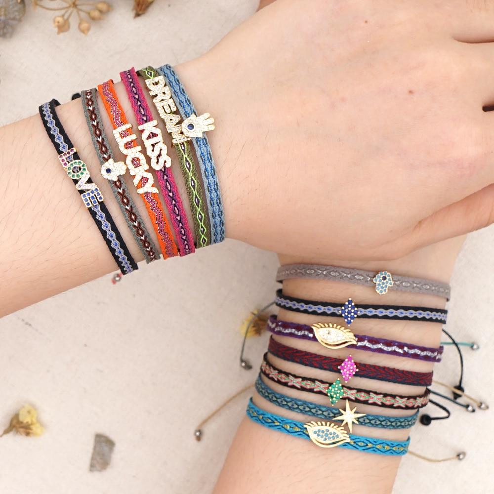 GO2BOHO Boho Jewelry Bracelet For Women Braided Bracelets Turkish Evil Eye LOVE Pulseras Mujer Bohemian Adjustable 2020 New