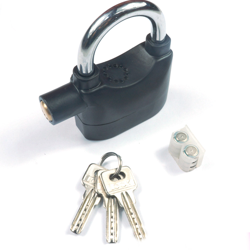 Zinc Alloy 110d Metal Motorbike Bike Alarm Lock Sensor Security Siren Garage Padlock With 6 Batteries