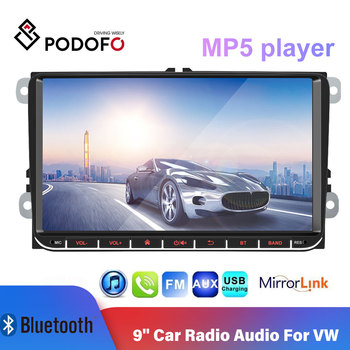 Podofo 9'' Car Radio Audio Car Multimedia Player Touch Screen MP5 Autoradio FM Radio Android Mirror Link for VW Radio Coche image