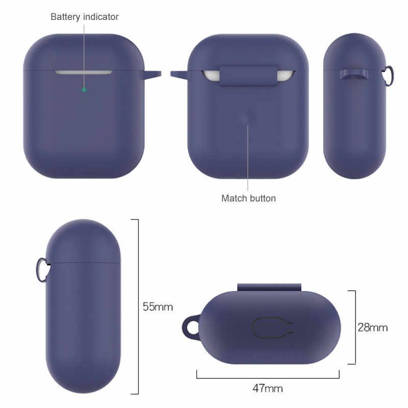 2 w 1 dla Airpods 2 Case pokrowiec ochronny z karabińczykiem z hakiem brelok silikonowe etui na słuchawki akcesoria do pudełek klamra