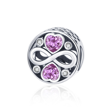 Strollgirl 100% 925 Sterling Silver Round Heart-shaped Bead Zircon Endless Love Charm for Pandora Bracelet Women fashion Jewelry
