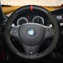Hand-stitched Black Genuine Leather Black Suede Car Steering Wheel Cover For BMW M Sport M3 E90 E91 E92 E93 E87 E81 E82 E88