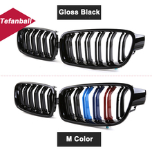 цена на 1 Pair M Color/Gloss Black Car Front Bumper Kidney Grill Grilles For BMW 2 Series F22 F23 F87 M2 Car Styling Auto Accessory