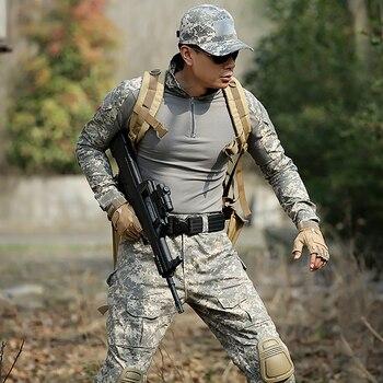 10Color Men Army Military Uniform Tactical Suit ACU Special Forces Combat Shirt Coat Pant Set Camouflage Militar Soldier Clothes