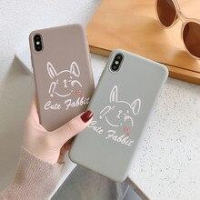 Funda de silicona con caricatura de conejo Vintage marrón y gris para funda de iphone X XS Max XR 6s para iphone 6 Plus 7 8Plus