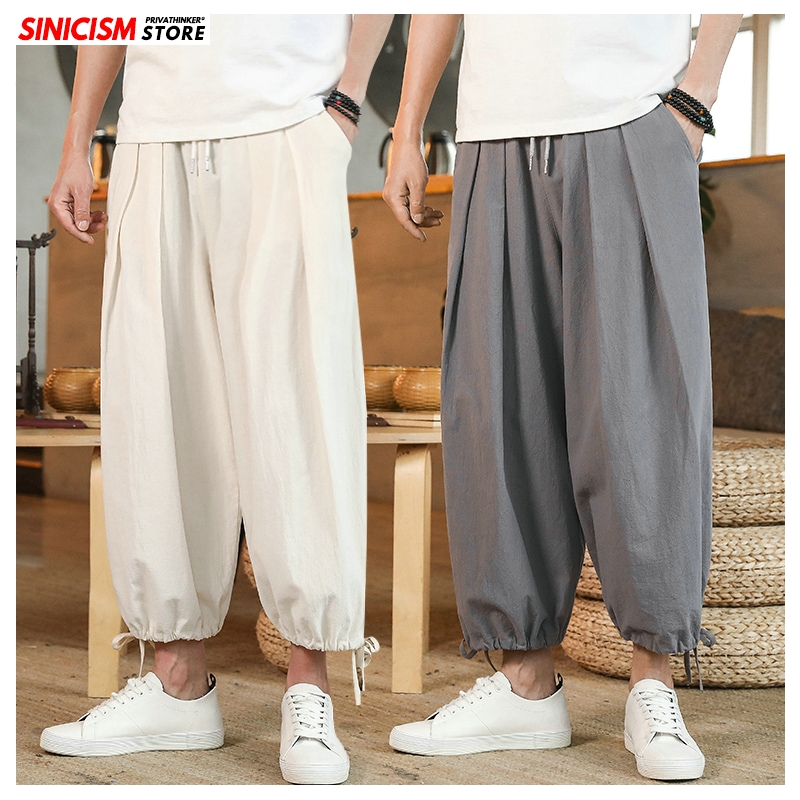 Sinicism Store Men Solid Chinese Style Summer Casual Pants Mens 2020 Linen Loose Trousers Male Oversize Wide Leg Pants 5XL News