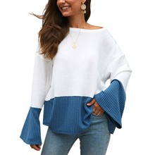 Women Color Matching Knitting Bell Long Sleeve Winter Autumn Sweater Round Neck Loose Casual Patchwork x