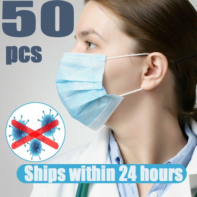 50PCS wholesale disposable 3 layer protective mask windproof dustproof mask antibacterial anti flu mask care