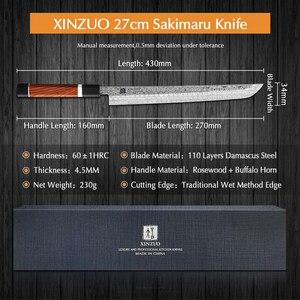 Image 2 - XINZUO 10.5 Sakimaru Coltello 110 Strati di Damasco Inox Sushi Sashimi Salmone Pesce Sfilettatura Coltello Da Cucina Chef Manico Ottagonale