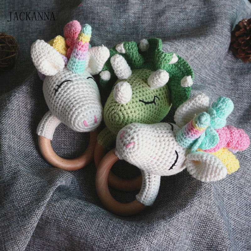 Wood Baby Teether Crochet Unicorn Dinosaur Rattle Teether Wood Ring Baby Play Nursery Toys BPA Free Newborn Animal Teether Toy