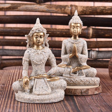 Fengshui Figurine Home Decor Resin Sitting Miniature Home Decor Buddha Statues Sandstone Thailand Buddha Sculpture