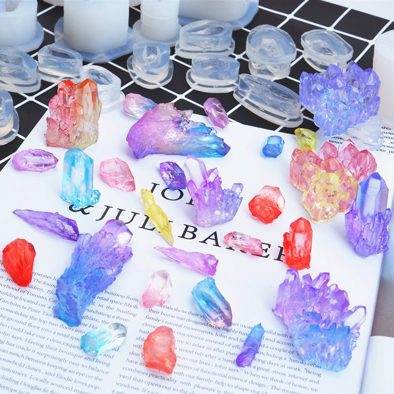Quartz Slice Mold Agate Crystal Geode Silicone Mold Soft Mold For UV Resin Art Faux Crystal Making Jewelry Silicone Mold