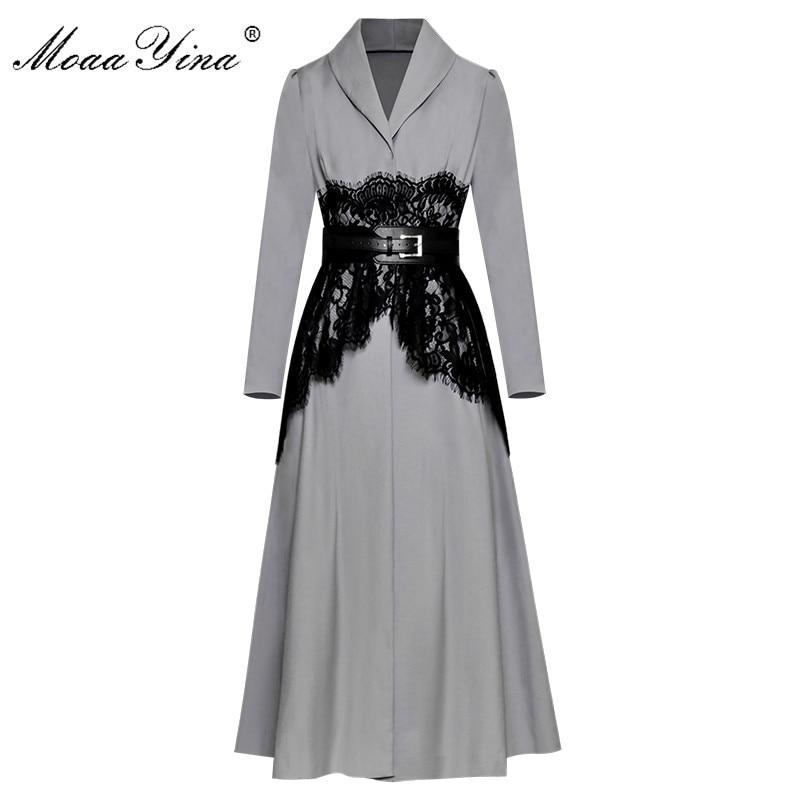 MoaaYina High Quality Fashion Designer Runway Long Windbreaker sleeve Lace Belt Casual Vintage Coat