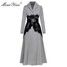 MoaaYina High Quality Fashion Designer Runway Long Windbreaker sleeve Lace Belt Casual Vintage Coat