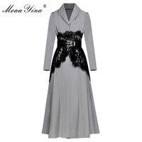 MoaaYina High Quality Fashion Designer Runway Long Windbreaker Long sleeve Lace Belt Casual Vintage Windbreaker Coat