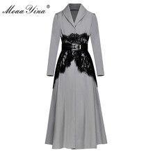 Moaayina cinto de renda casual, casaco corta vento longo de manga longa, casual, vintage, de alta qualidade, design moderno